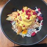 Chia pudding with mango foam