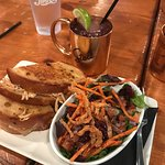 chicken grilled cheese, house salad & moscow mule