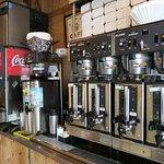Self-serve coffee and soda area.