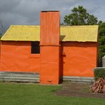 Relocated forestry hut - such an interesting history, especially the colour