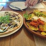 Mushroom pizza and Nachos