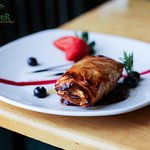 Filo Wrapped Four Cheese - Brie, cream cheese, stilton blue, goat cheese wrapped in crisp filo