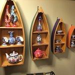 Display shelf with ceramics