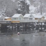 Summer houses and frozen waters