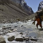 crossing the glacier path to Dhaulagiri