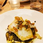 Catch of the Day, roast cauliflower, spicy puy lentils, raisin, pinenut caper and curry salsa