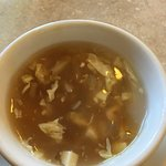 Egg drop soup variation that has more ingredients like chicken pieces. Yum