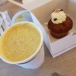 Turmeric chai latte and carrot cake