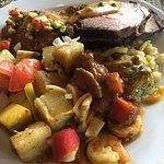 mix veg & roasted beef & shrimp