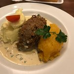 This is vegetarian haggis, neeps, and tatties. This picture still makes me hungry.
