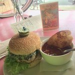 The Pink Bicycle Black Bean Burger with soup