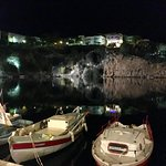 Evening view towards the beautiful lake of Agios Nikolaos