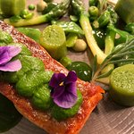 Sea trout and peas