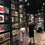 hallway of record album covers - very cool!