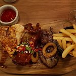 Middletons Grill. Chicken breast, Chicken Drumstick, 4 ribs, an 8oZ Ribeye or Sirloin and chips.