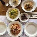 chicken liver pate, meat ball pasta, pork with orange ragu pasta