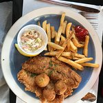 Catfish Special with two big pieces of catfish, hush puppies, slaw and fries.