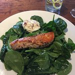 Spinach salad with salmon & oxtail gnocchi.. both delicious!!