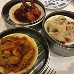 Beef Tripe with Curry Sauce, Beef Tripe with Ginger and Scallions, Chicken Feet with B. Bean Sau