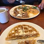 Chilaquiles plate and Belgian waffle.