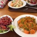 Sambar and pumpkin casserole with side salads
