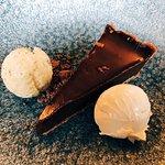 Chocolate Dessert with Pistachio and White Chocolate Ice Cream