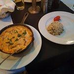 Gyros in Metaxasoße dazu Reis