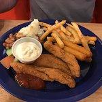 Catfish (medium), fries, beans, mashed potatoes.