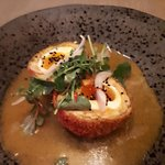 Haggis scotch eggs with a curry sauce. Different but devine