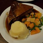 Cow Pie. Steak, mushrooms and gravy with vegetable and mashed potatoes.