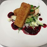 Golden Fried Brie: Summer Berry Compote and Herb Croutons.