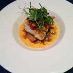 Cod loin with pepper and chorizo sauce