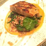 Atlantic salmon and Australian Barramundi.  Charred asparagus creama sauce.