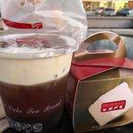 Sea Salt Iced Coffee ( before shaking ) and Taro Snow Cake in cute box