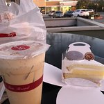 Sea Salt Iced Coffee ( after shaking ) and Taro Snow Cake in cute box