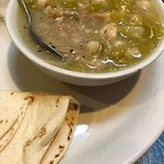 Posole and eggs with green chili
