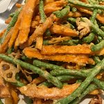 Long Beans and Sweet Potato fried with salted egg yolk
