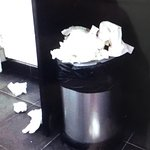 Overflowing waste bin in ladies loo...bar manager seemed to think this was acceptable!