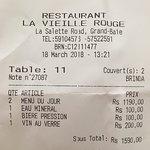 2 menus, entrée de crudités et filet de vielle rouge...