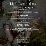 Our light lunch menu.