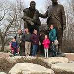 The family with the Lewis & Clark statue down near the river.