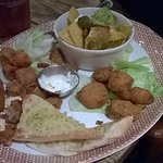Sharing Platter for starters....all deep fat fryed with balls of Calamari for good luck!