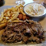 Chop pork, cheese curd and Fries. 1 thing the cole slaw seemed packaged I would do a nice vinega