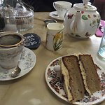 proper tea served with banana and peanut butter cake