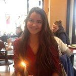 Magdalene enjoying an impromptu birthday cake !