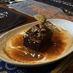 sticky toffee pudding with butterscotch and cream sauce