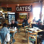 "Cafe Section with ""Gates"" Sign"