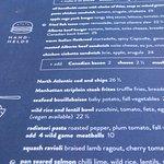 Menu showing vegan options as well as regular fare