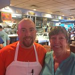 One of owners with me. Best fresh seafood to to take home and prepare or even better, eat at res
