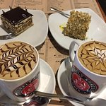 my favorite coffee, cafe mocha decaf and tiramisu kind a like cake